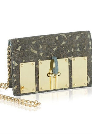 The Uptown Grey Flowers Embossed Clutch - nelou b24fcdfb25