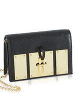 Uptown Black Embossed Leather Clutch