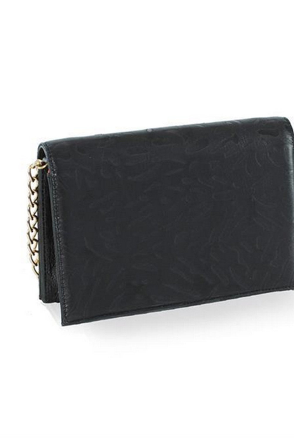 Uptown Black Embossed Leather Clutch - nelou f4484bc4b0