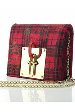 On The Town-Red Tartan Printed Leather