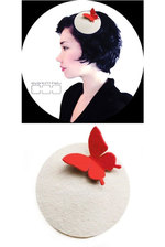 Hat Disc - White & Butterfly Red Large