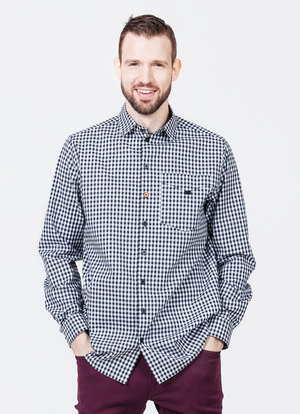 Lightweight cotton shirt in black gingham