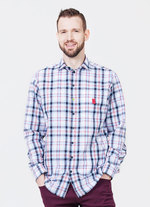 Lightweight cotton shirt in blue plaid