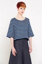 Esfir Box Tee (Navy Stripes)