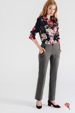 Navy blue blouse with freesia pattern Polly