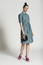 Sea colour shirt dress EMMA