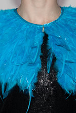 Blue feather collar