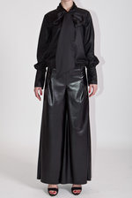 Eco leather flared trousers
