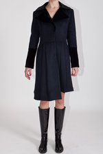 Navy blue padded alpaca coat