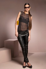 Top chiffon with leather