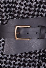 Wide natural leather belt