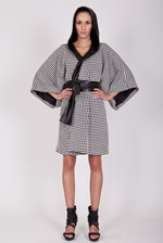 Oversize houndstooth check coat