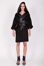 Oversize coat with eco leather hood