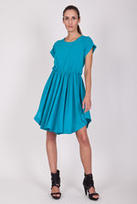 Azure dress with short sleeves