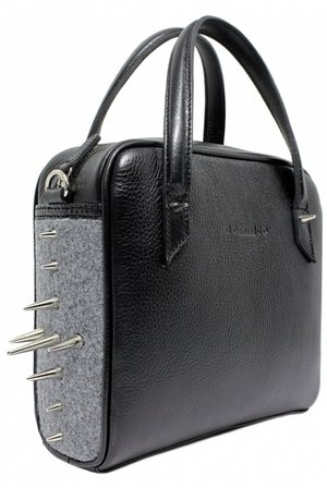 Leather bag with metal studs REBEL