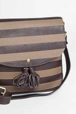 Brown Striped Shoulder Bag