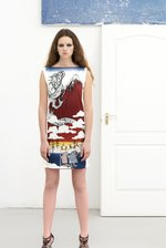 white back SHEATH DRESS with Manekineko