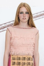Two tone short TULLE FRINGE TOP apricot