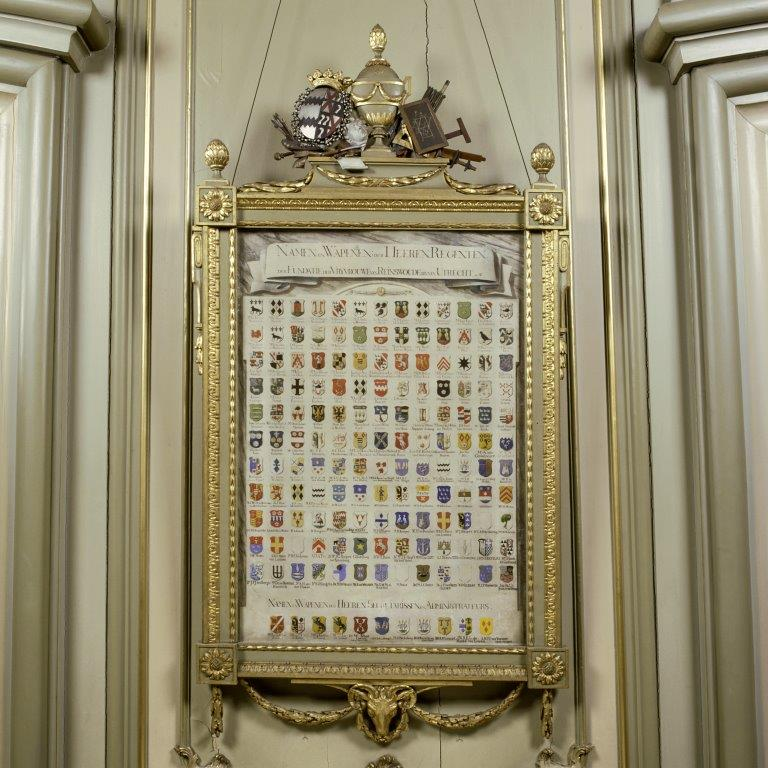 Regentenzaal - Wapenbord met namen en wapens van regenten en secretarissen