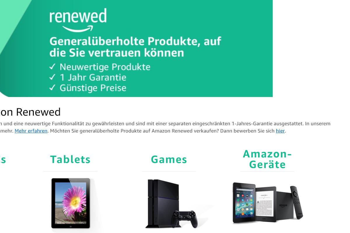 """Auch Amazon hat seit einiger Zeit einen speziellen """"Refurbished""""-Bereich."""