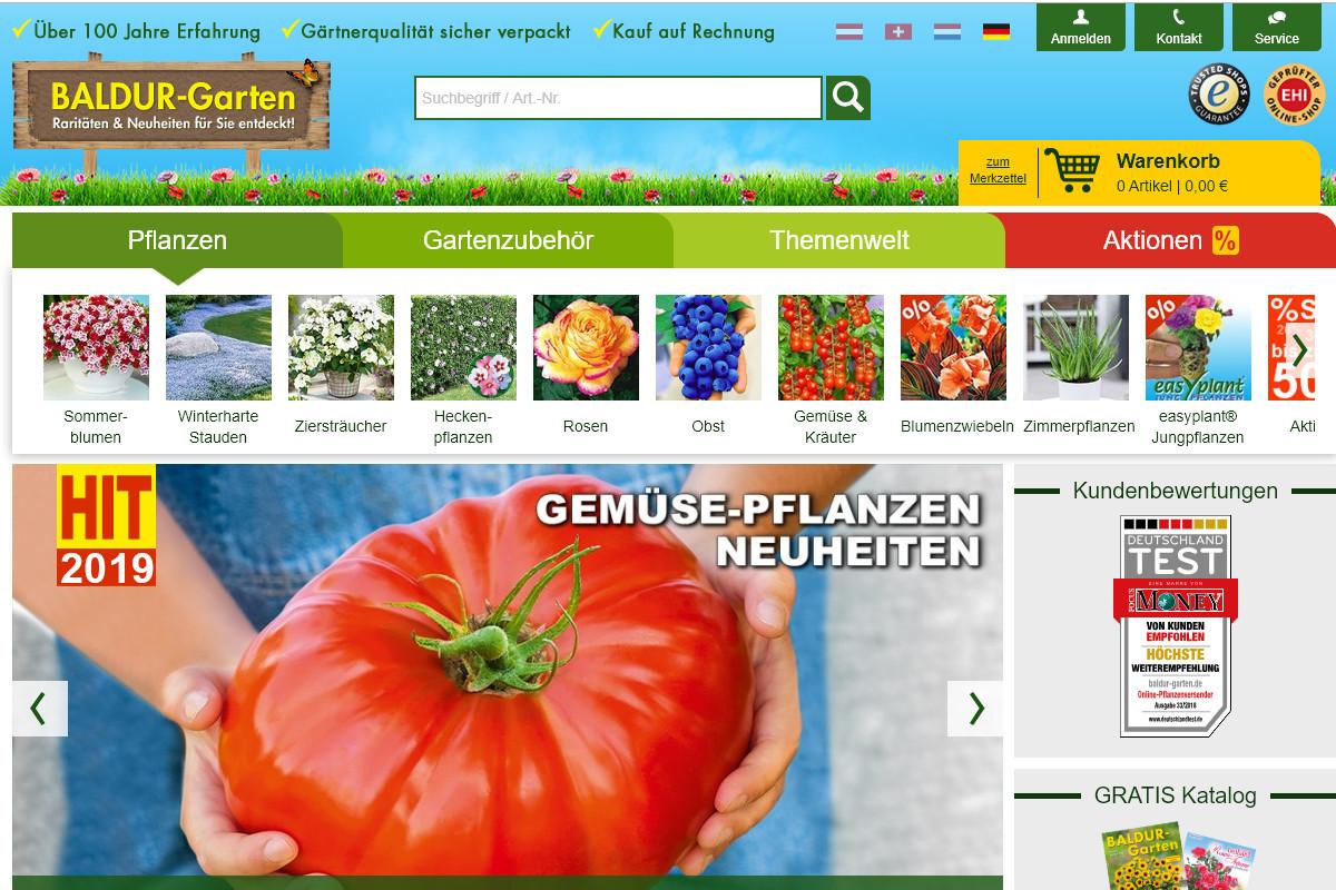 Die Auswahl bei Baldu-Garten.de ist groß, leider sind nicht immer alle Pflanzen vorrätig.