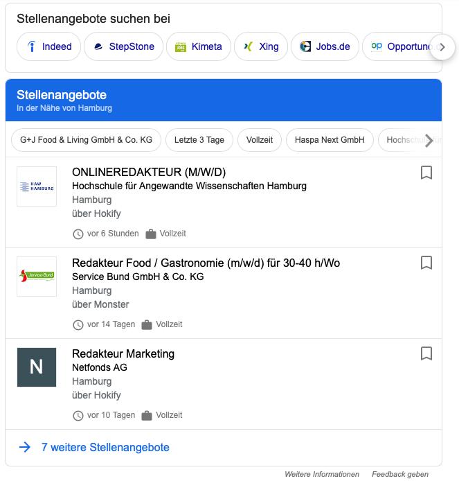 """Ergebnisse der Google-Suche für: """"Redakteur, Hamburg, Vollzeit"""""""