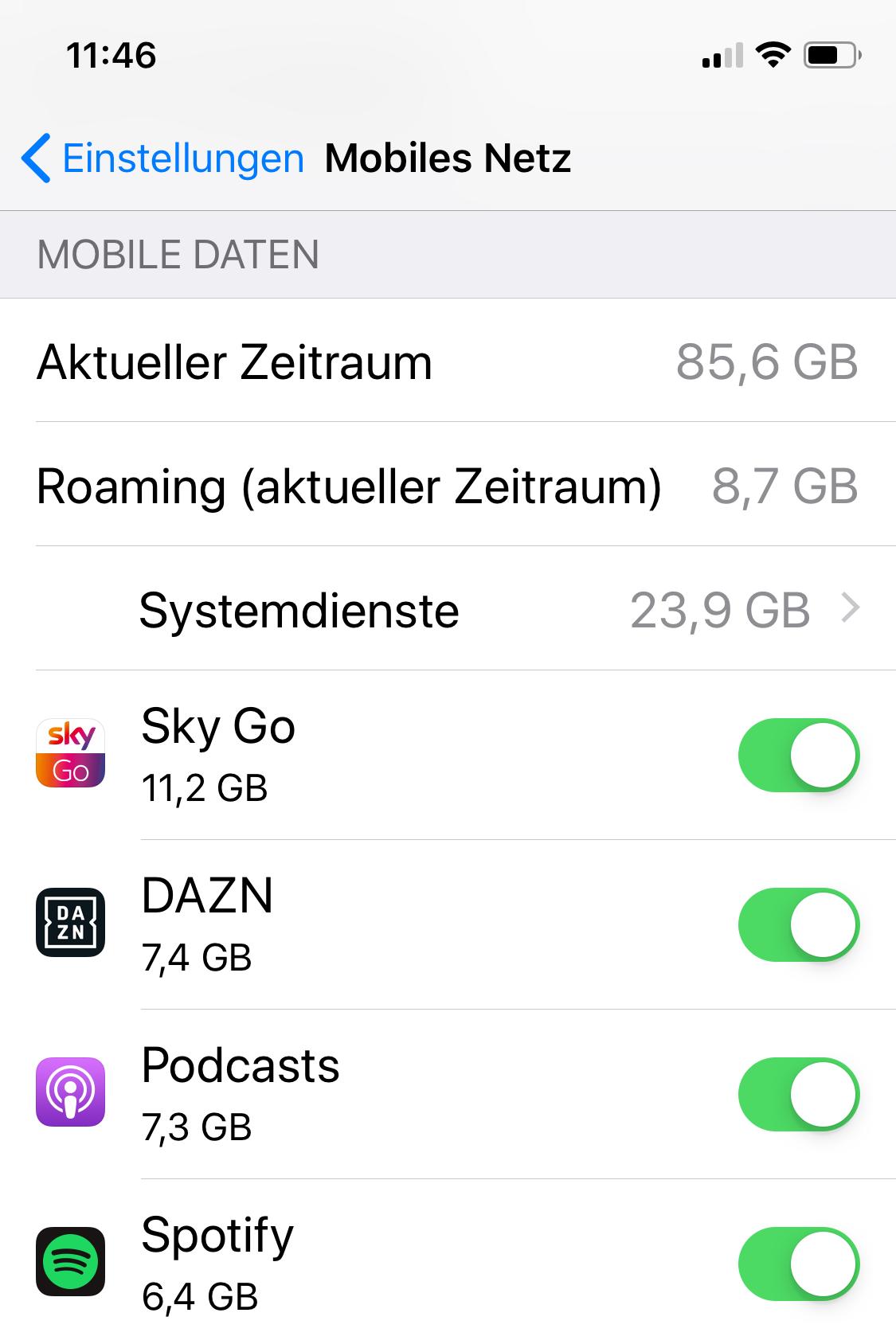 Dein Smartphone offenbart in den Einstellungen deinen Datenverbrauch.