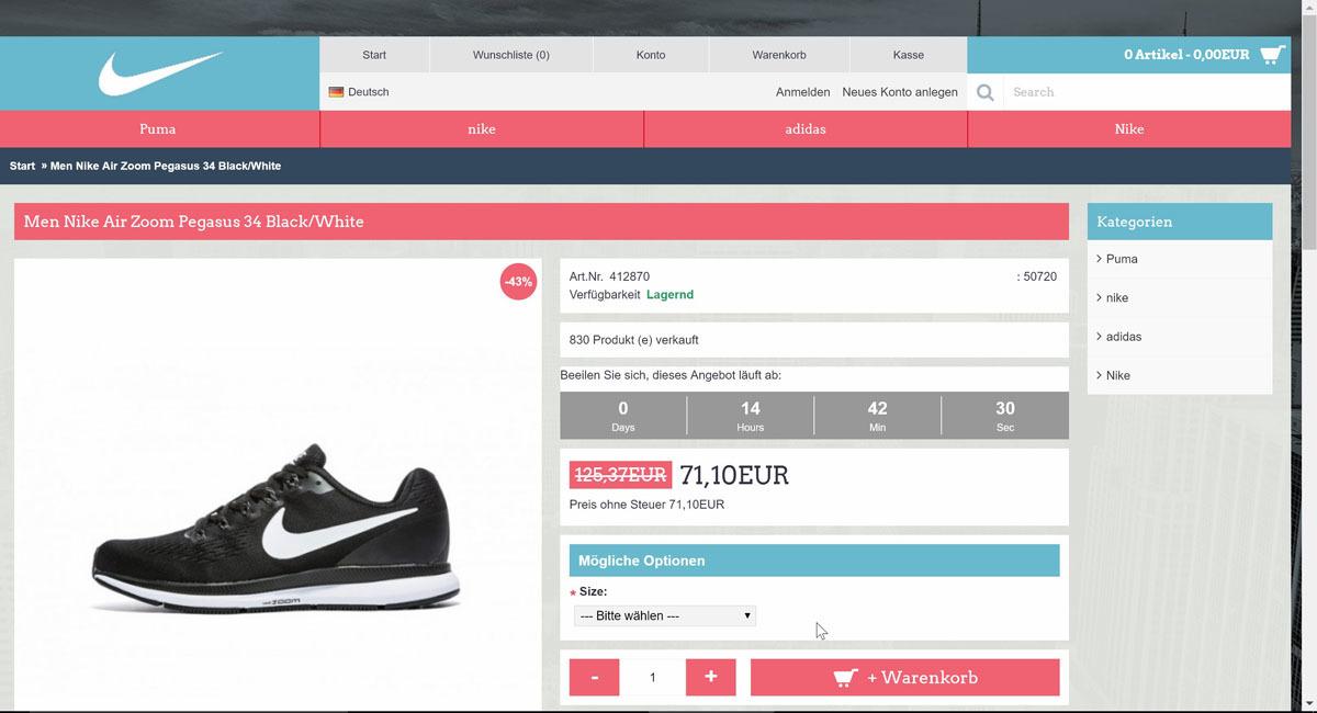 Besonders populäre Label - wie hier Nike - ziehen immer wieder als Aufhänger für Fake-Shops.