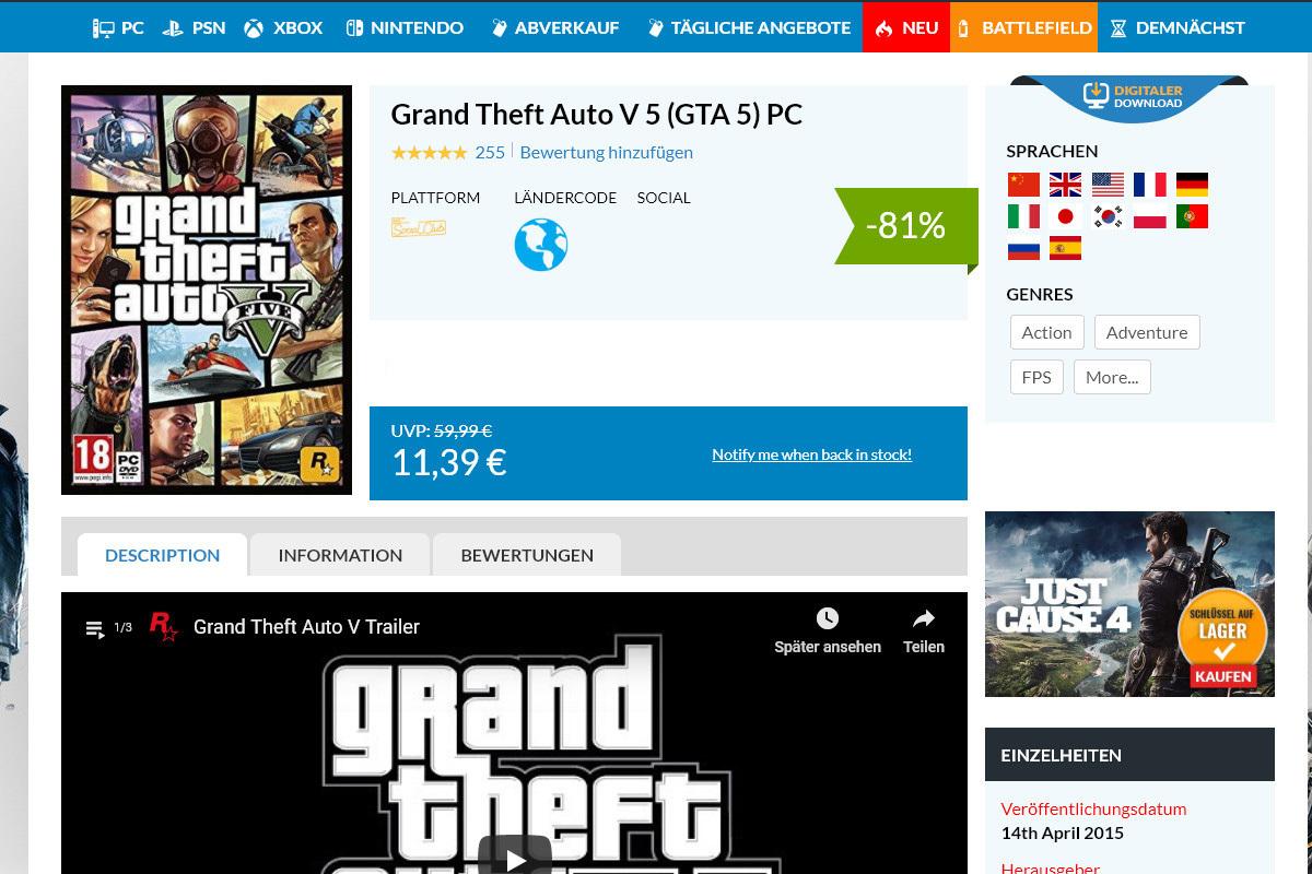 GTA 5 für rund 11 Euro? Könnte faul sein.