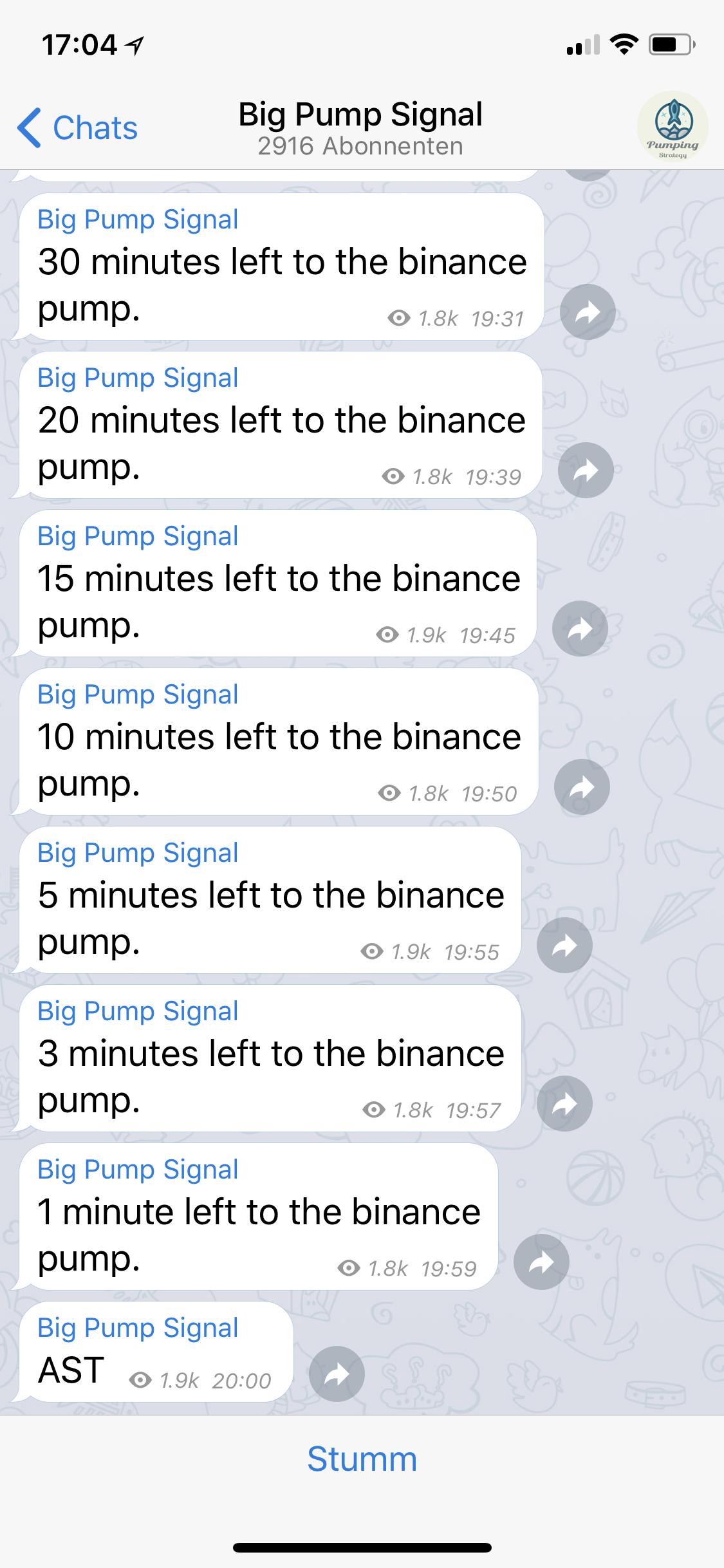 Im Minutentakt kündigt Murat A. in der Telegram-Gruppe den sogenannten Finance Pump an. Um 20 Uhr wird die Währung bekanntgegeben, die Teilnehmer der Gruppe kaufen sollen.