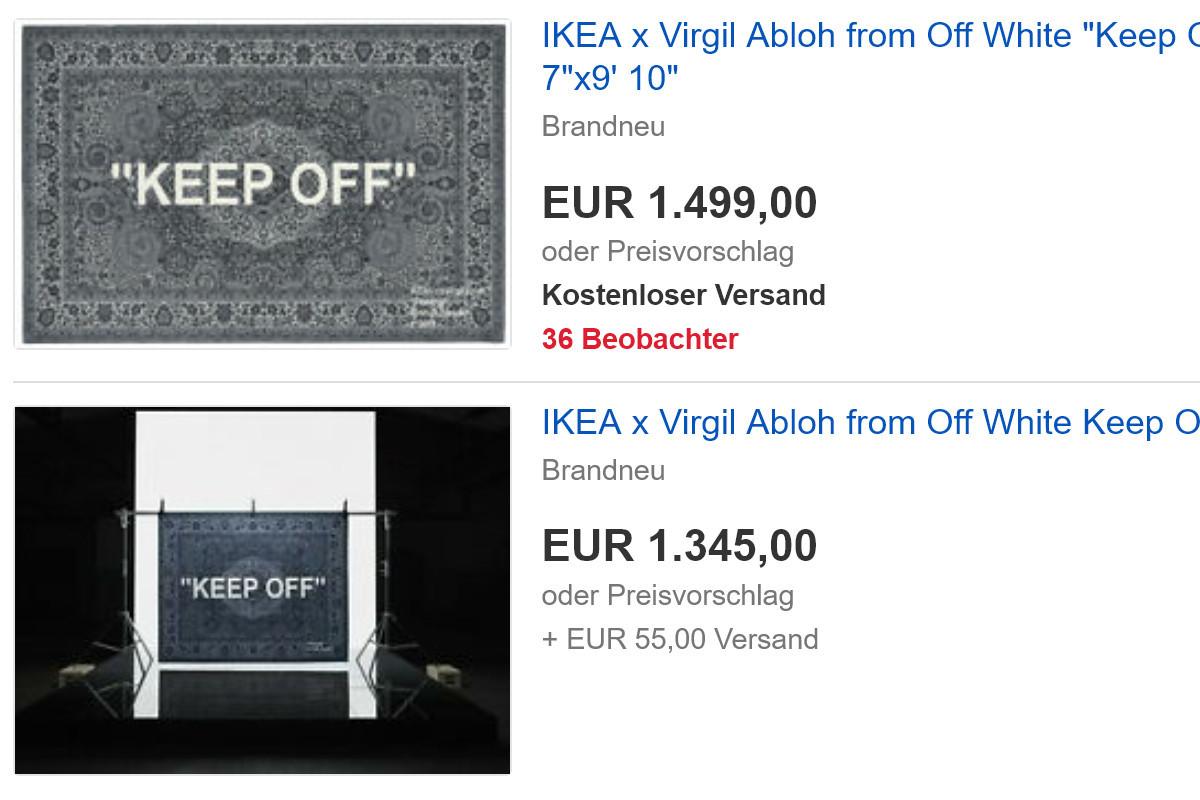 Bei eBay kursieren die Designer-Teppiche zu gesalzenen Preisen.