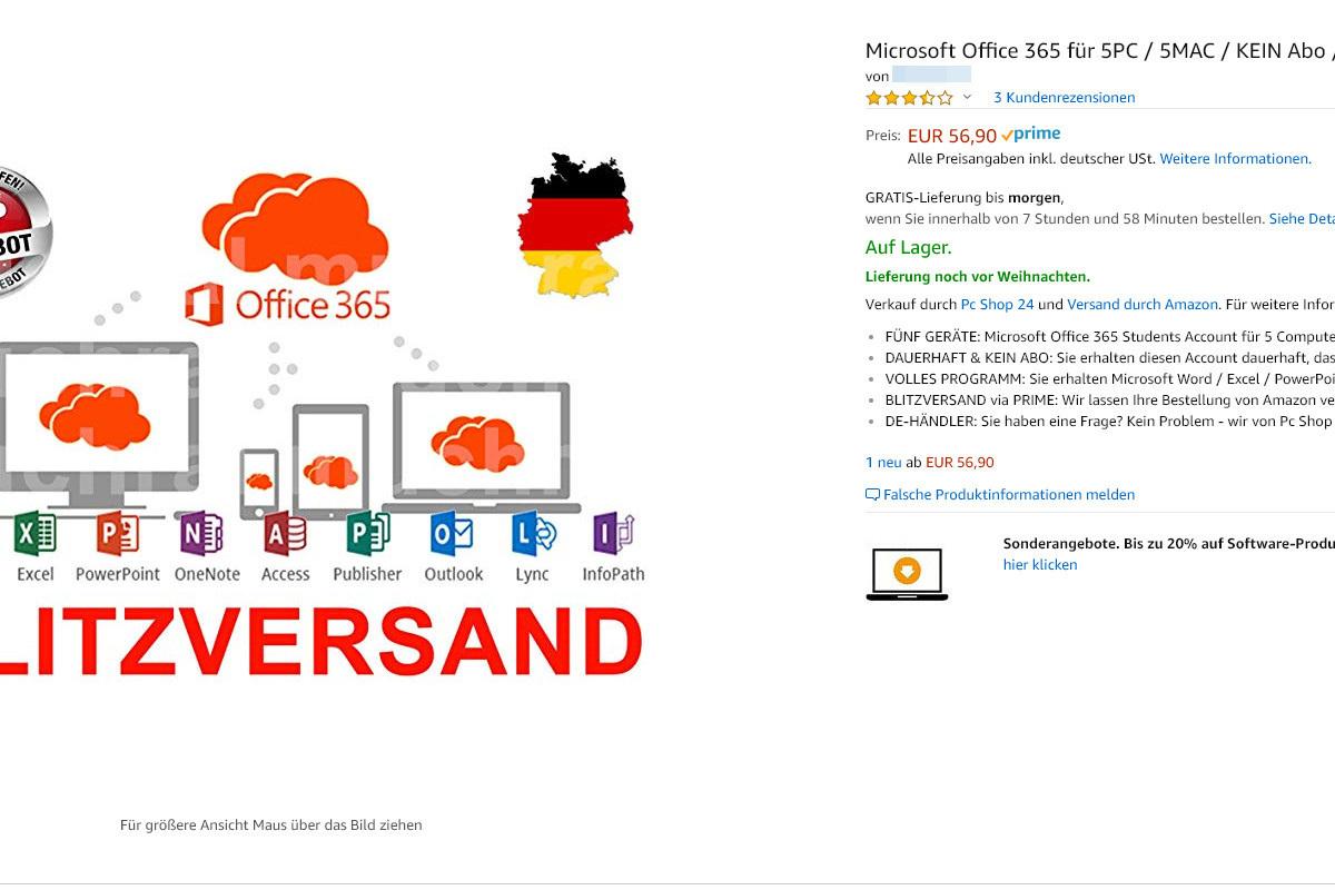 Auch bei Amazon gibt es Händler, die unseriöse Office 365-Angebote machen.