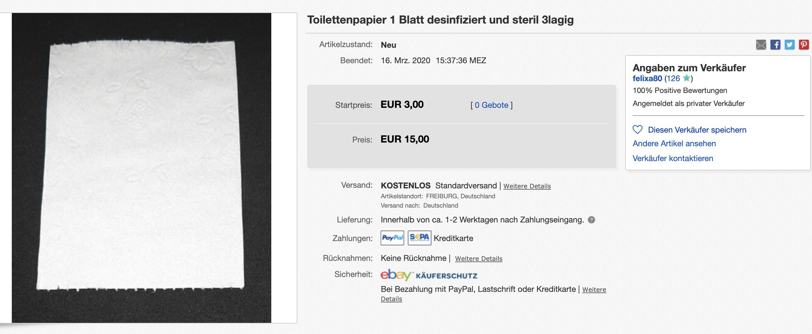 Quelle: Ebay Kleinanzeigen (Screenshot / 19.03.20.)