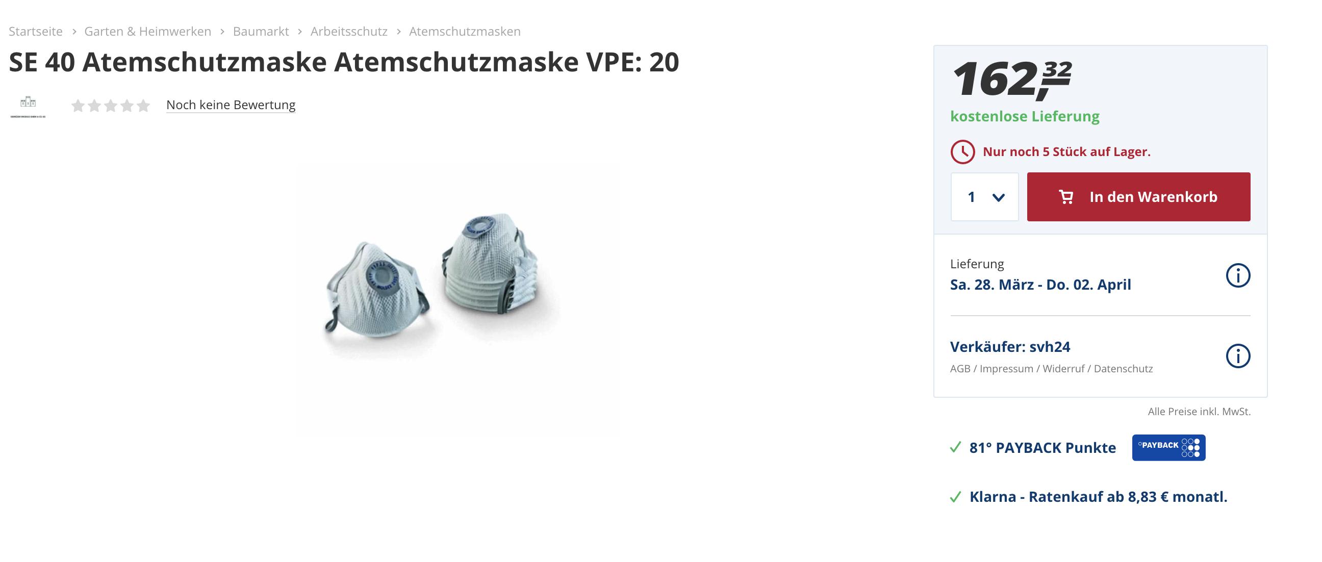 Quelle: Real.de (Screenshot / 19.03.20)