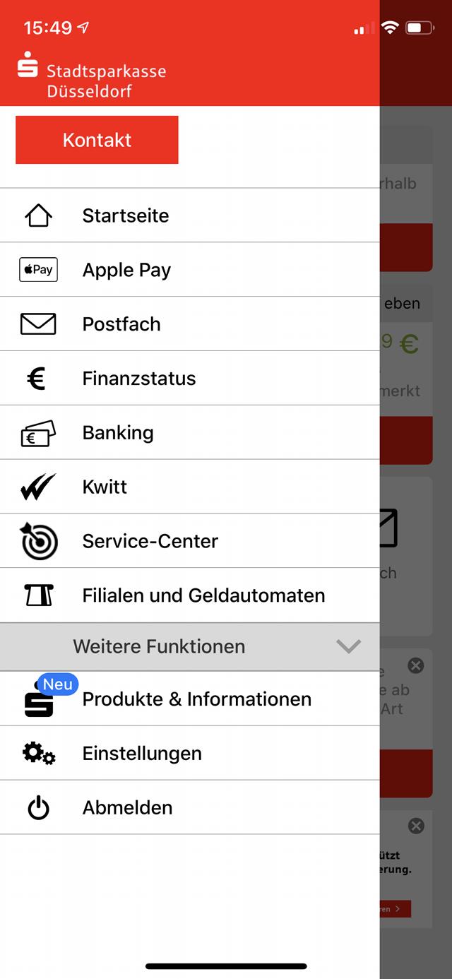 """1 Falls noch nicht geschehen, starte die Sparkassen-App auf dem iPhone. Darin tippst du oben links auf """"Neu"""" und dann auf """"Apple Pay"""" (oder direkt auf """"Apple Pay"""")."""