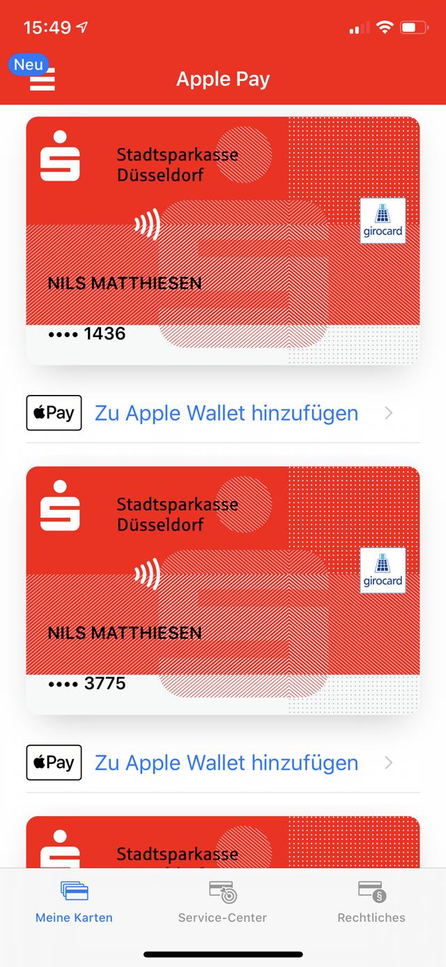 """2 Nun siehst du deine Girokarten. Klicken unter der gewünschten Karte auf """"Zu Apple Wallet hinzufügen."""""""