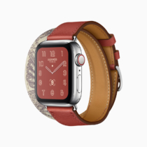 Apple watch series 5 hermes face double tour della cavalleria print brique beton grey band 091019
