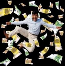 Mann Im Geldsegen