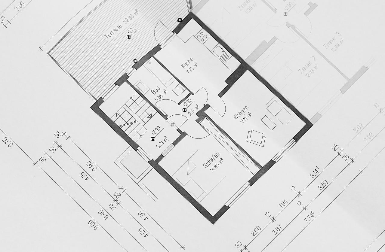 Grundriss: Nicht nur für die Finanzierung und Planung ist der Grundriss wichtig. Auch bei eventuell anstehenden Um- oder Anbaumaßnahmen helfen vorhandene Zeichnungen, sofern sie maßstabsgerecht und auf dem aktuellen Stand sind.