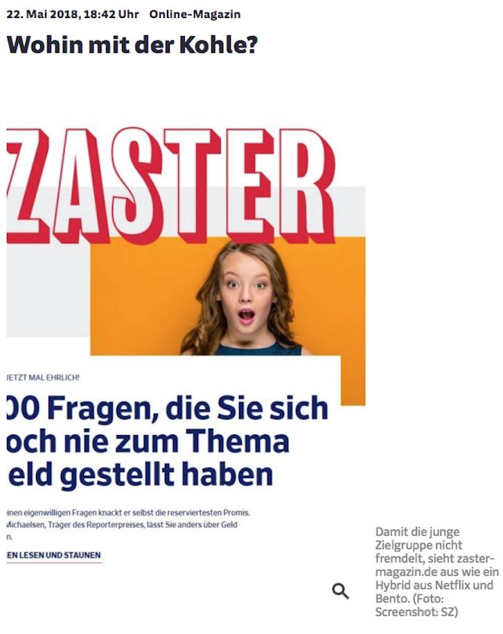 """Wir in der Presse - Süddeutsche Zeitung """"Wohin mit der Kohle?"""""""