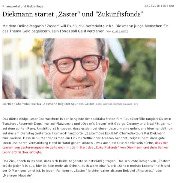 """Wir in der Presse - Tagesspiegel """"Diekmann startet 'Zaster' und 'Zukunftsfonds'"""""""