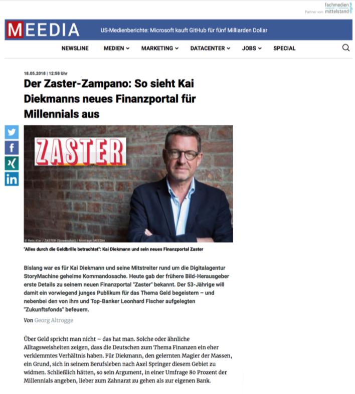 """Wir in der Presse - Meedia """"Der Zaster-Zompano: So sieht Kai Diekmanns neues Finanzportal für Millennials aus"""""""