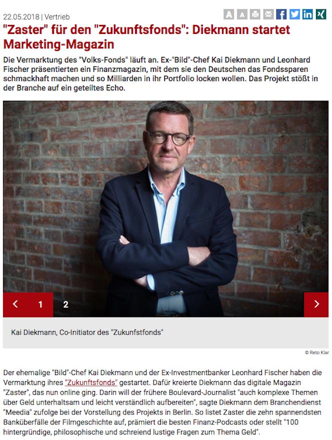 """Wir in der Presse - Fonds Professionell """"'Zaster' für den 'Zukunftfonds': Diekmann startet Marketing Magazin"""""""