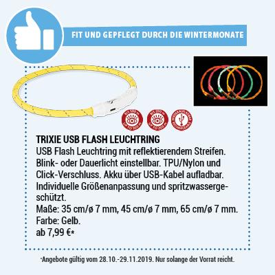 Trixie Leuchtring Flash USB gelb