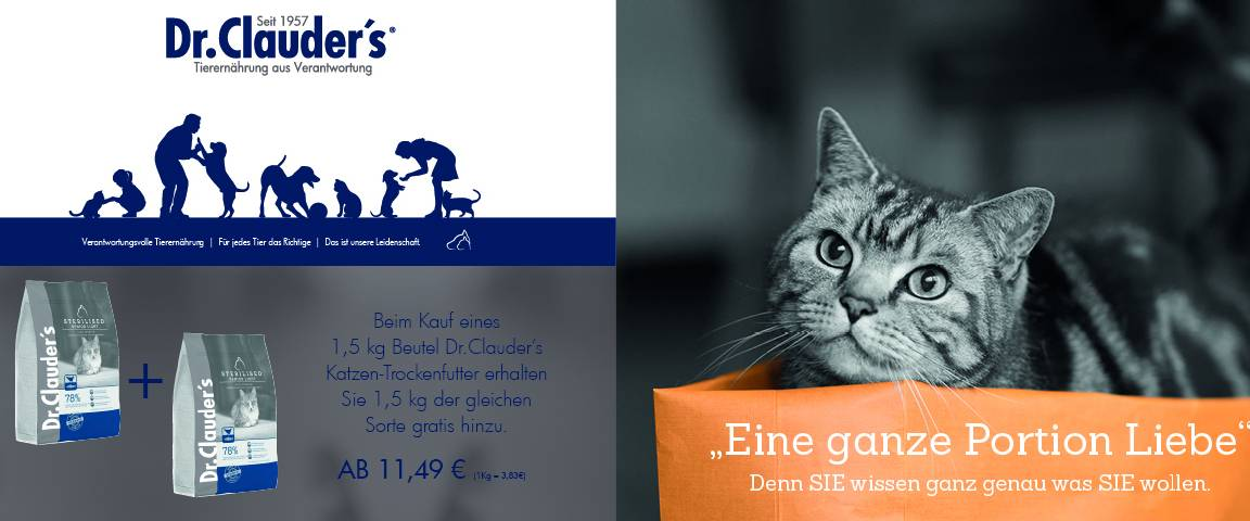 Dr.Clauders Cat Trocken High Premium Sterilised Senior/Light 1,5 kg + 1,5 kg gratis