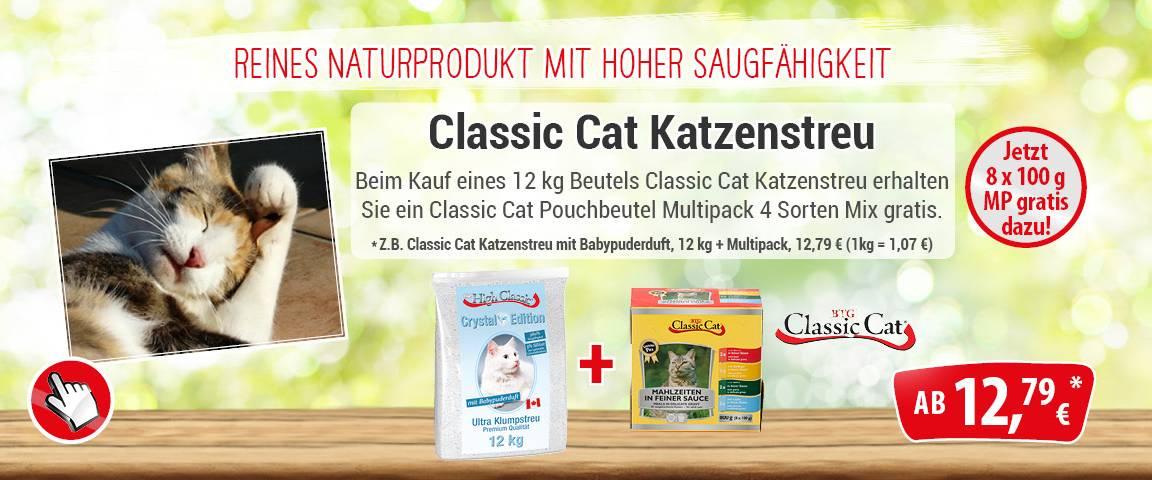 Classic Katzenstreu High Crystal 12kg + Multipack Mahlzeit 4 Sorten Mix 8x100g gratis