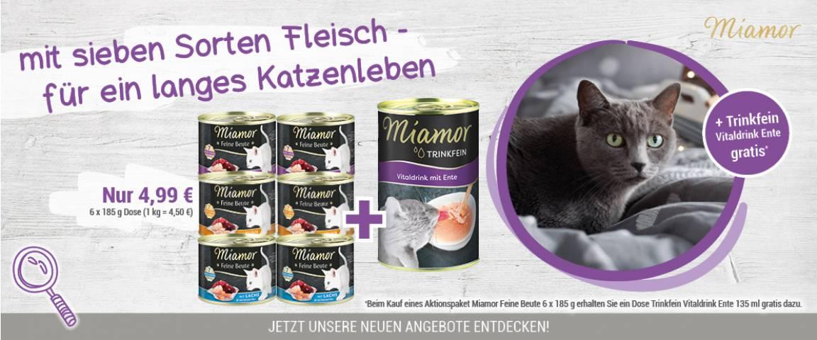 Aktionspaket Miamor Feine Beute + Trinkfein Vitaldrink Ente 135 ml gratis