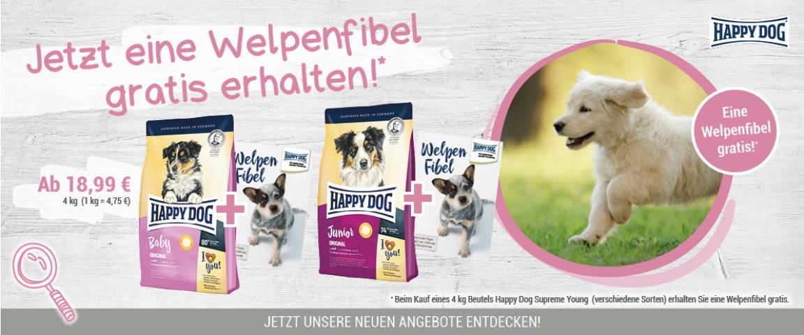 Happy Dog Baby Original 4 kg + Welpenfibel gratis