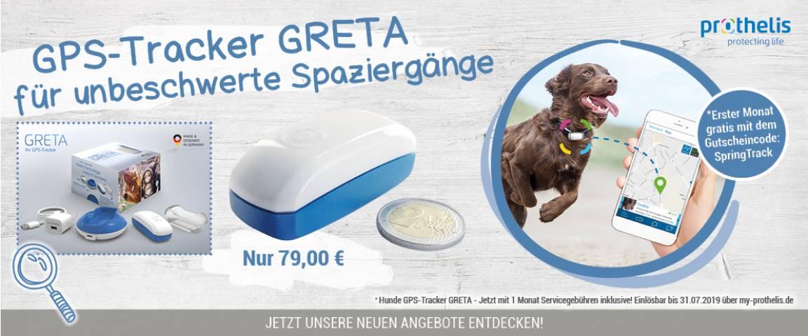 """GRETA GPS-Tracker """"Erster Monat gratis mit dem  Gutscheincode: SpringTrack"""""""