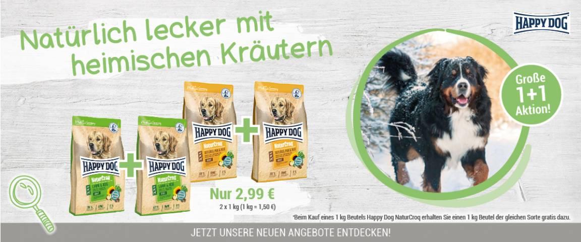 Happy Dog NaturCroq Geflügel pur & Reis 1kg + 1kg gratis